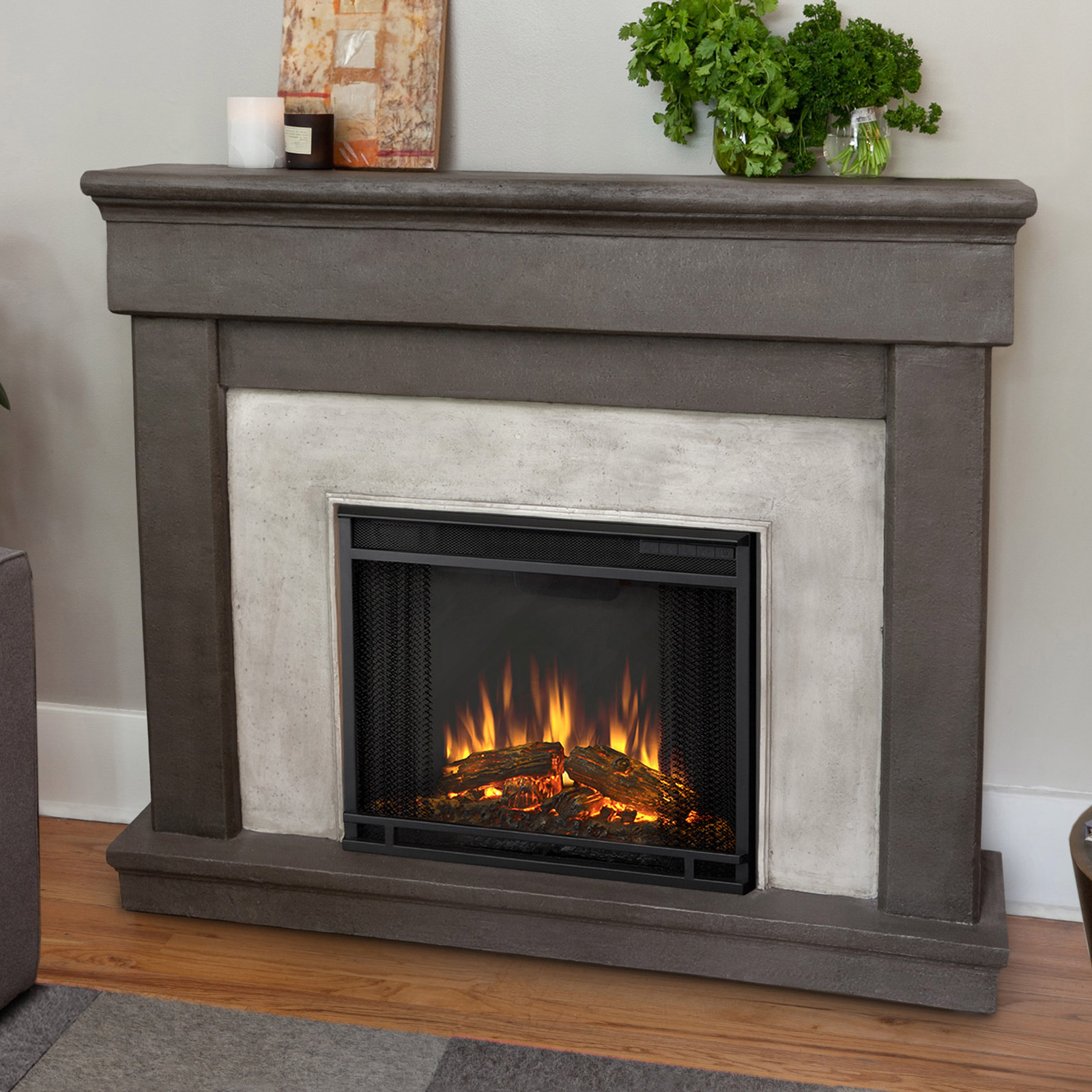 real flame cascade indoor electric fireplace dune stone