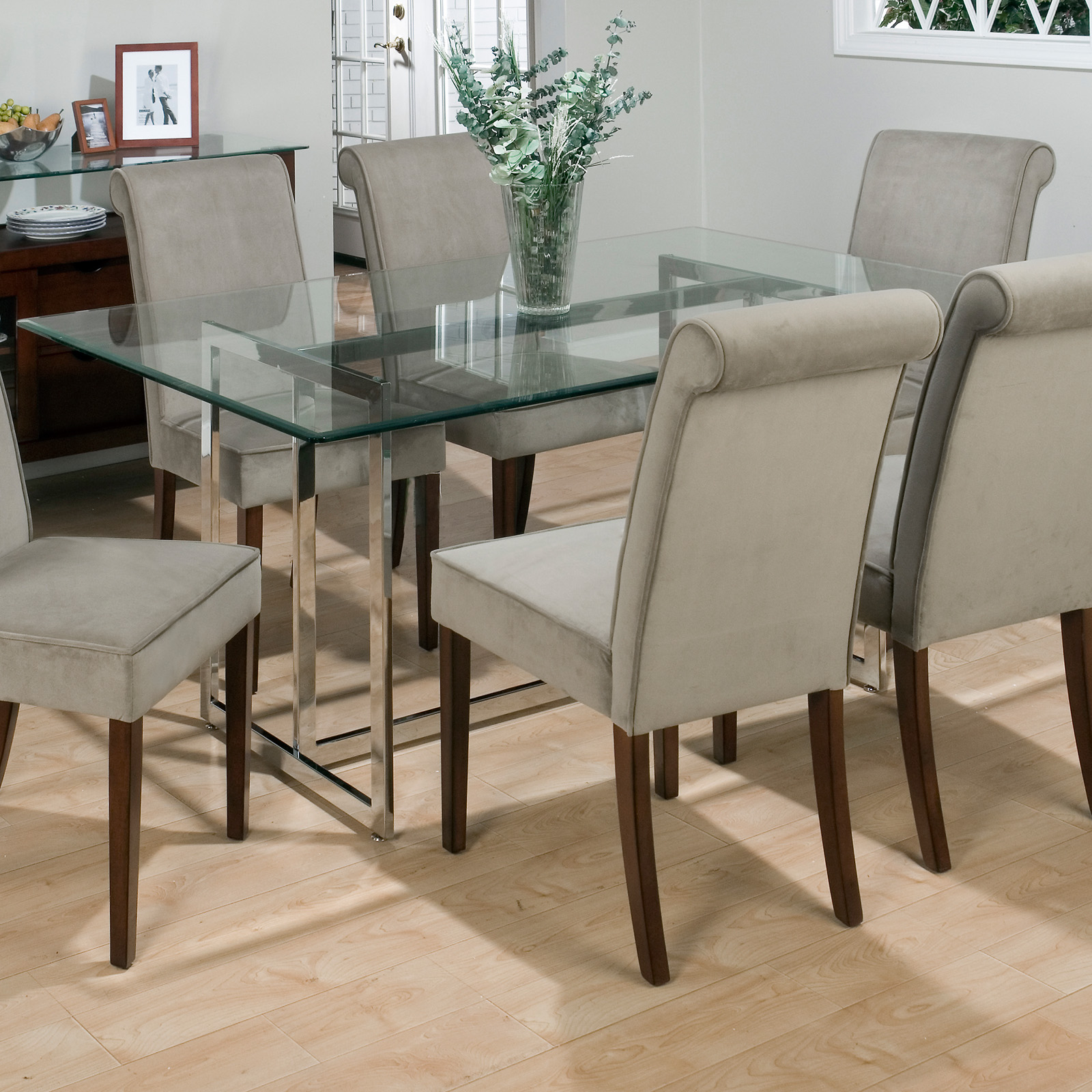 jofran bethel rectanglar glass top dining table at hayneedle