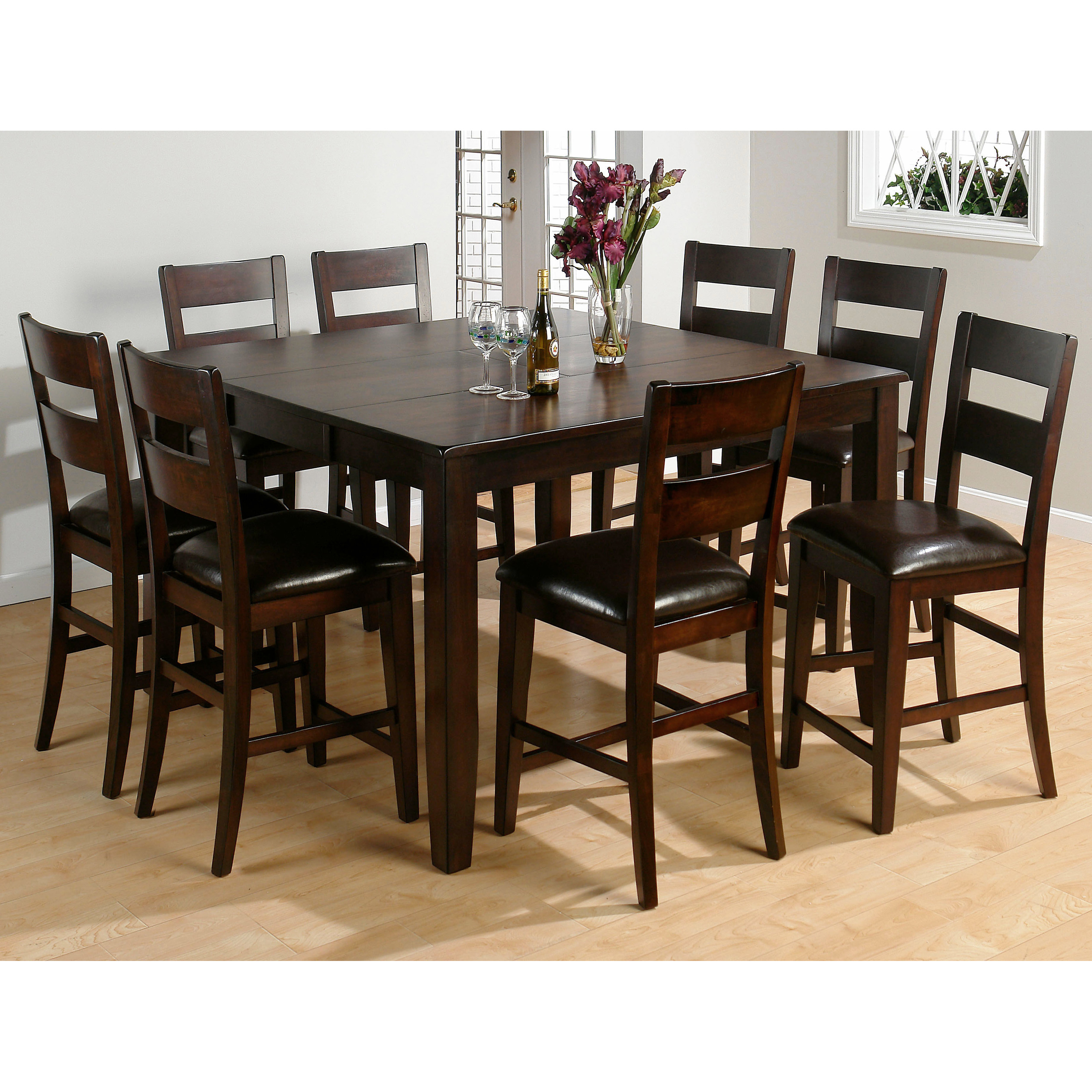 Jofran rustic prairie 9 piece counter height dining set for Counter height dining set