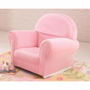 KidKraft Upholstered Pink Rocker with Slip Cover