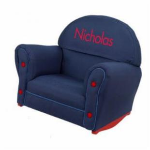 KidKraft Upholstered Denim Rocker with Slip Cover - Personalized