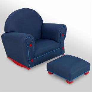 KidKraft Denim Child Rocker with Ottoman