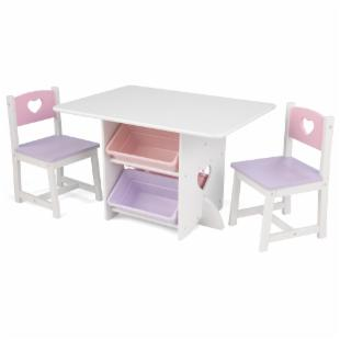 KidKraft Heart Table Set with Pastel Bins