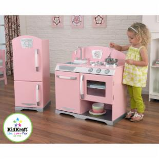 KidKraft 2 Piece Pink Retro Kitchen and Refrigerator