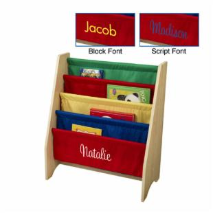 KidKraft 4 Shelf Primary Colored Sling Bookshelf with Personalization