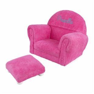 KidKraft Personalized Bubble Gum Chenille Rocker and Ottoman