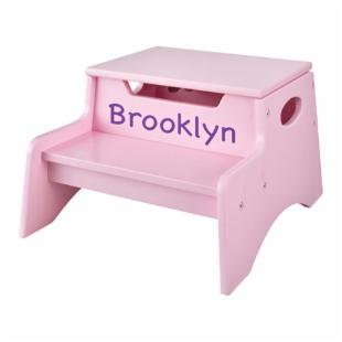 KidKraft Personalized Pink Step N Store Step Stool