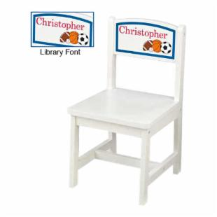 KidKraft Personalized Sports White Aspen Chair