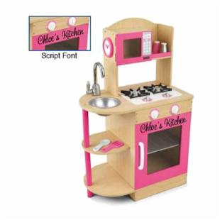 KidKraft Personalized Pink/Natural Modern Kitchen