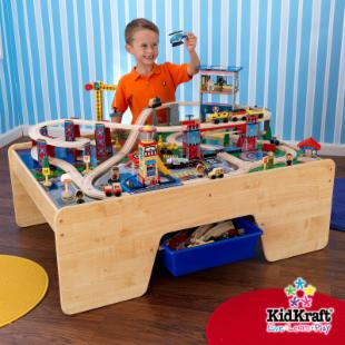 KidKraft Rising City Train Table and Train Set Package