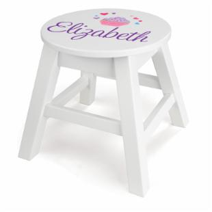 KidKraft Personalized White Round Stool