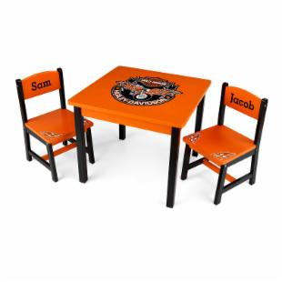 KidKraft Personalized Harley-Davidson&reg; Table &amp; 2 Chair Set - Serif Black
