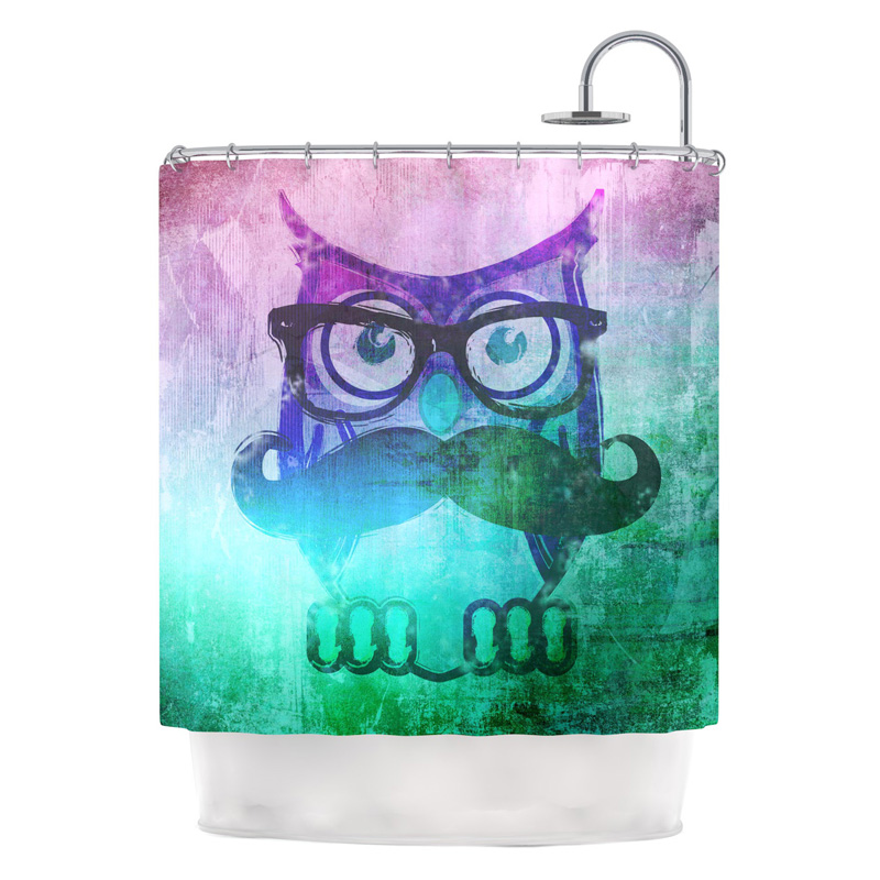 kess inhouse iruz33 owl mustache shower curtain shower