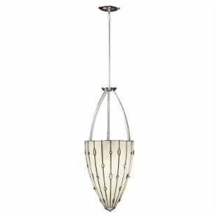 Kichler 65357 Cloudburst Tiffany 3-Light Inverted Pendant - 14W in. Polished Nickel