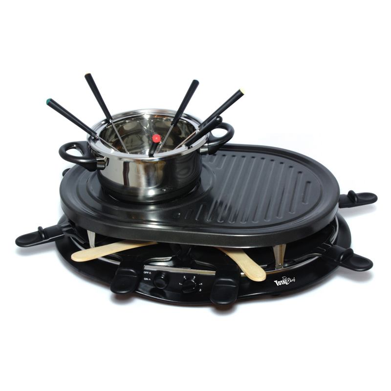 total chef tcrf08bn raclette party grill and fondue set fondue pots raclette grills at hayneedle. Black Bedroom Furniture Sets. Home Design Ideas