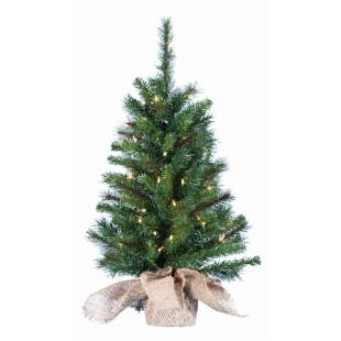 Pine Pre-lit Battery Operated Christmas Tree with Burlap Bag Base