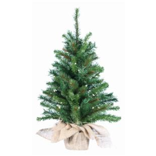 30 in. Pine Pre-lit Christmas Tree with Burlap Bag Base