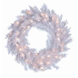 30 in. Pre-Lit Crystal White Wreath with Clear Lights