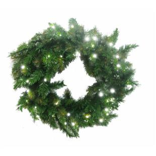 30 in. Pre-Lit Classic Green Wreath with White LED Lights