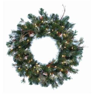 30 in. Pre-Lit Frosted Wreath with Clear Lights