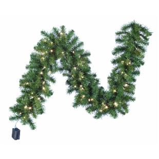 6 ft. Battery Operated Douglas Fir Garland with White LED Lights and ON-OFF Timer