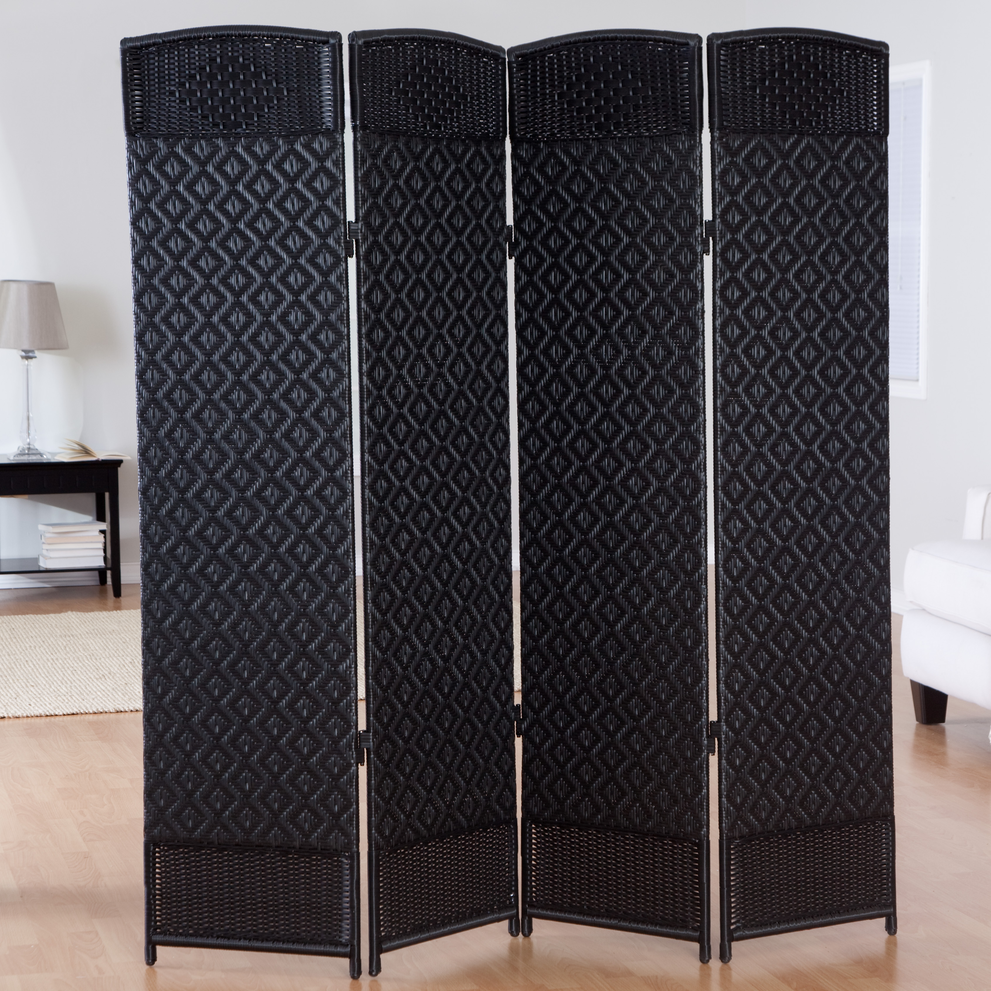 outdoor indoor woven resin 4 panel room divider outdoor privacy screens at hayneedle. Black Bedroom Furniture Sets. Home Design Ideas