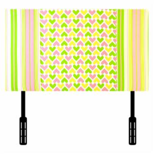 Kidz World Ann Bryan Kids Collection Twin Headboard - Pink/White/Chartreuse