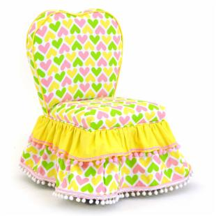 Kidz World Ann Bryan Kids Collection Sweetheart Chair - Pink/Yellow/White/Chartreuse