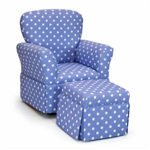 Polka Dots Lilac &amp; White Skirted Rocker and Ottoman