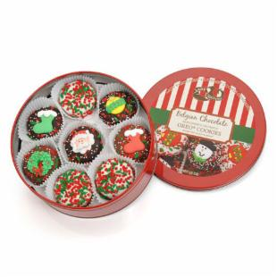 Gourmet Tin of Christmas Belgian Chocolate Drenched Oreos