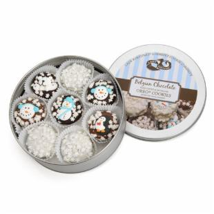Gourmet Tin of Winter Edition Belgian Chocolate Drenched Oreos