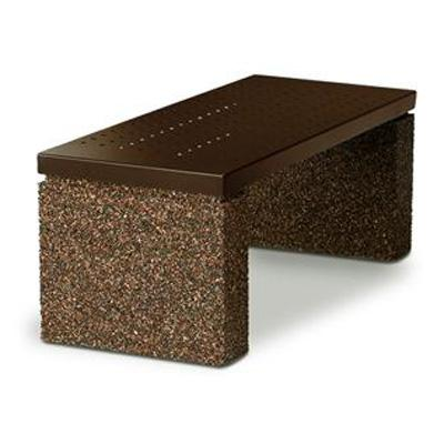 Landscape Brands 4 ft. Backless Symmetry Bench with Stone Legs