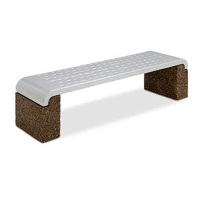 Landscape Brands 6 ft. Boulevard Flat Bench with Steel Seat and Stone Ends