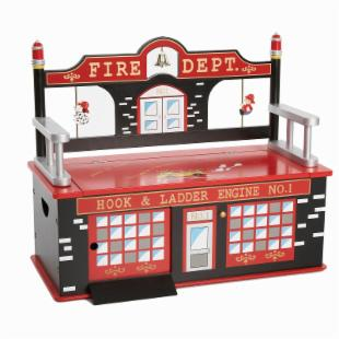 Levels of Discovery Firefighter Toy Box Bench