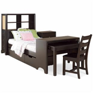Midtown Bookcase Storage Platform Bed with Desk