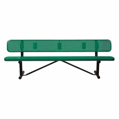 6 ft. Multicolor Personalized Perforated Standard Sports Bench - In Ground Mount
