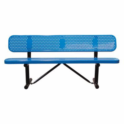 6 ft. Multicolor Personalized Perforated Standard Players Bench - Surface Mount