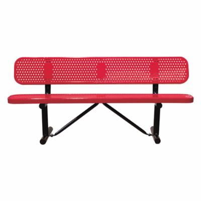 8 ft. Multicolor Personalized Perforated Standard Players Bench - Surface Mount
