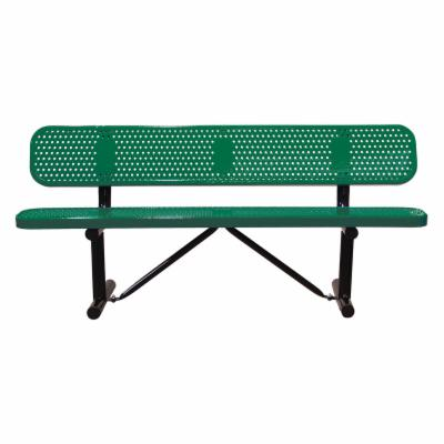 8 ft. Multicolor Personalized Perforated Standard Players Bench - In Ground Mount