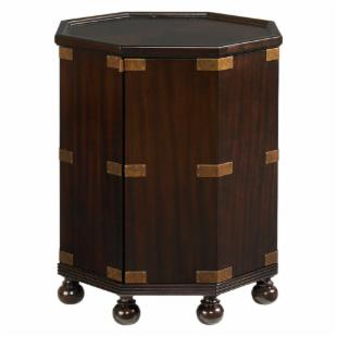 Tommy Bahama Royal Kahala Pacific Campaign Octagonal Kona Wood Accent Table