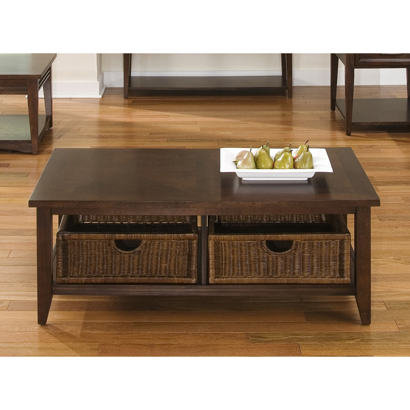 Lakewood rectangular coffee table with baskets amaretto coffee tables at hayneedle Coffee table baskets
