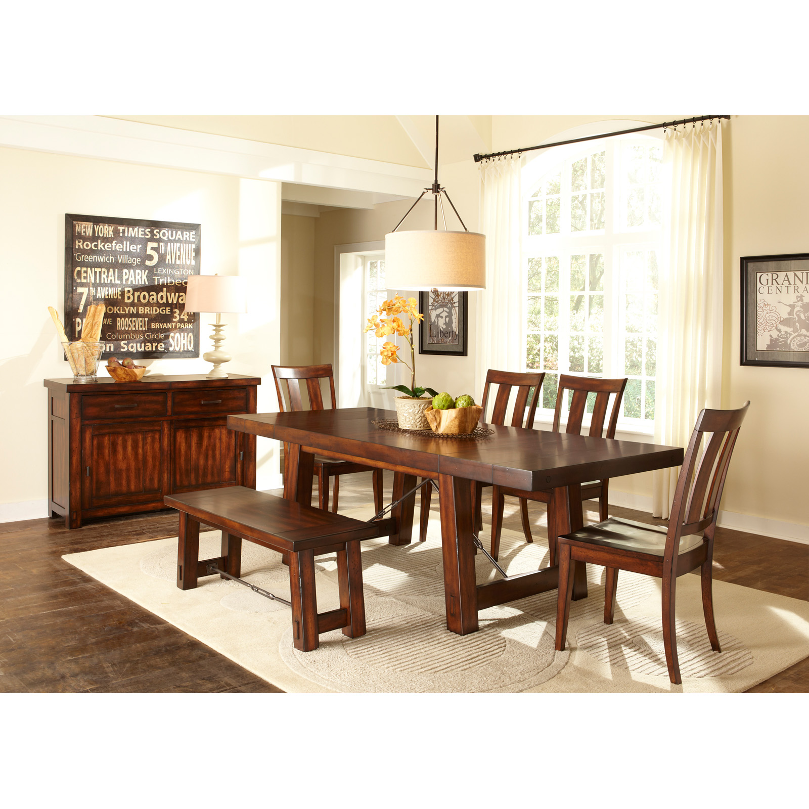 Liberty furniture tahoe trestle dining table dining for Casual dining room