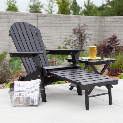 Big Daddy Adirondack Chair with Pull Out Ottoman and Ultimate Side Table Set - Black