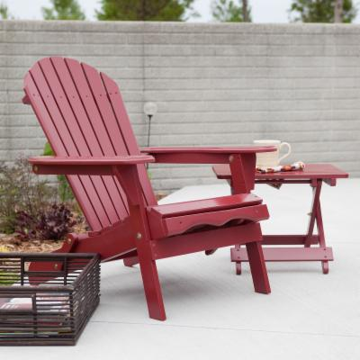 Big Daddy Adirondack Chair with Pull Out Ottoman and Ultimate Side Table Set - Red