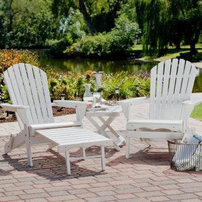 Big Daddy Adirondack Chair Set with FREE Side Table - White