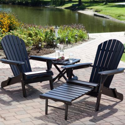 Big Daddy Adirondack Chair Set with FREE Side Table - Black