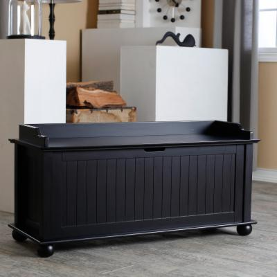 Morgan Traditional Flip Top Storage Bench - Black