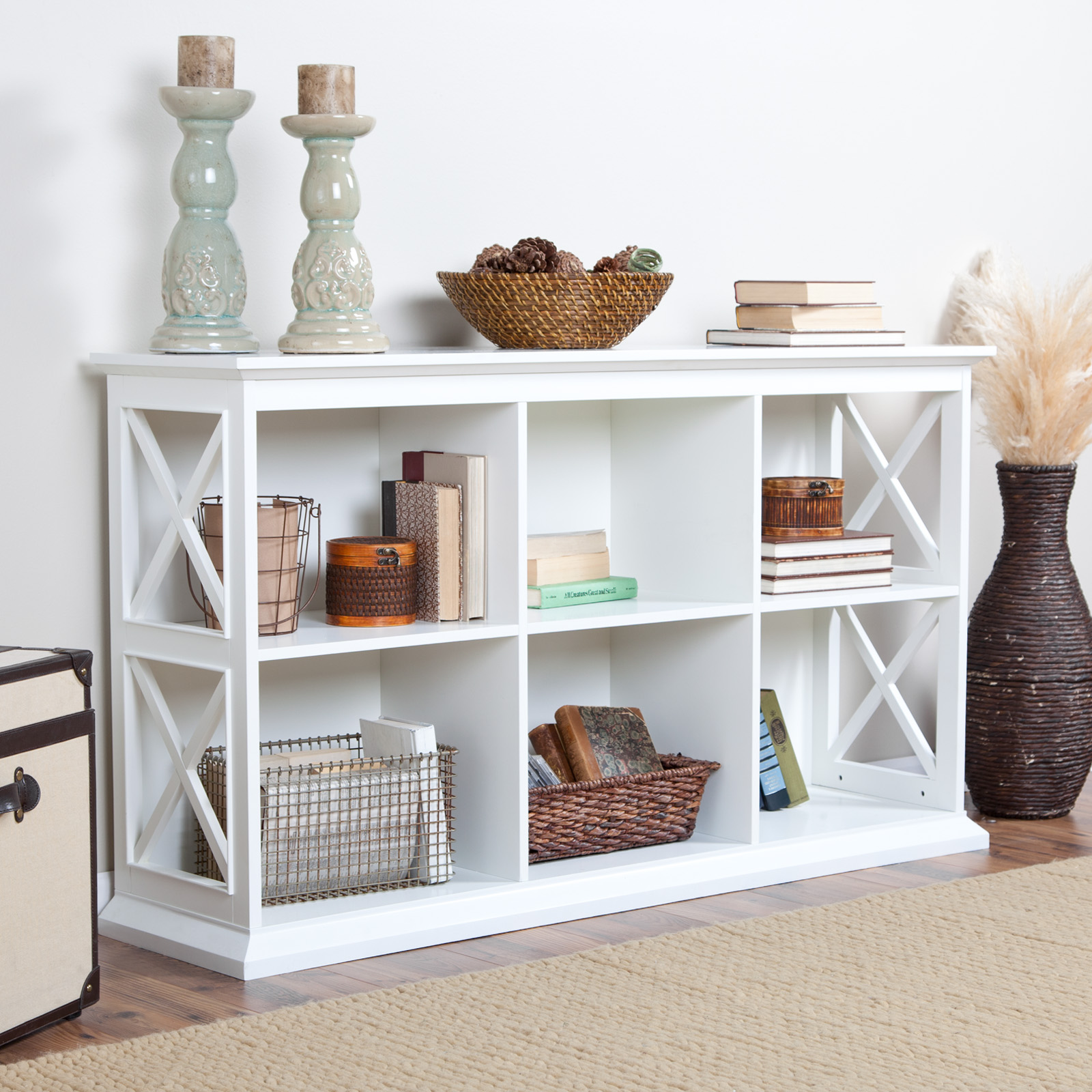 belham living hampton console table stackable bookcase white at hayneedle. Black Bedroom Furniture Sets. Home Design Ideas