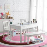  Classic Playtime Rectangle Table and Chair Set - Vanilla