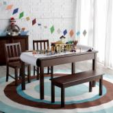  Classic Playtime Rectangle Table and Chair Set - Espresso